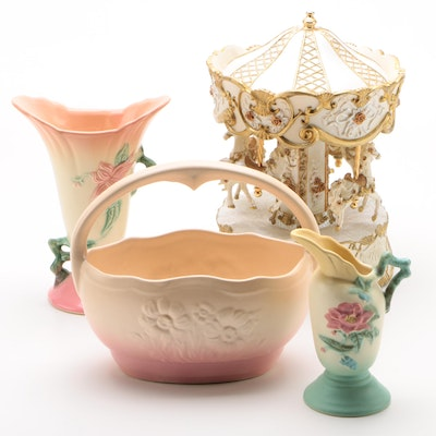Hull Pottery Basket Planter, Vases, and Victorian Style Horse Carousel
