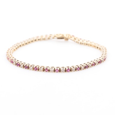 14K Yellow Gold Ruby and 1.05 CTW Diamond Bracelet