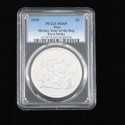 PCGS Graded MS69 2018 Niue Mickey-Year of the Dog $2 Silver Coin