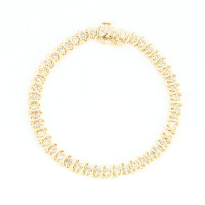 14K Yellow Gold 2.07 CTW Diamond S-Link Bracelet