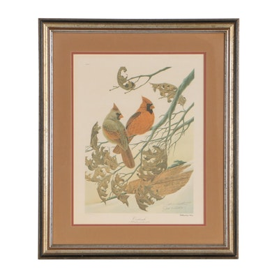 """John A. Ruthven Offset Lithograph """"Cardinals"""""""