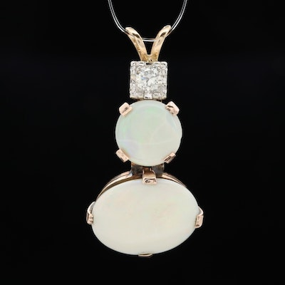 14K and 10K Rose Gold Opal and Diamond Pendant
