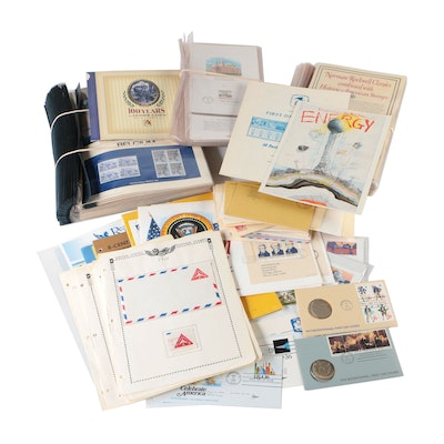 Group of Various Stamps, Postal Covers, Stamp Sets, and Philatelic Materials
