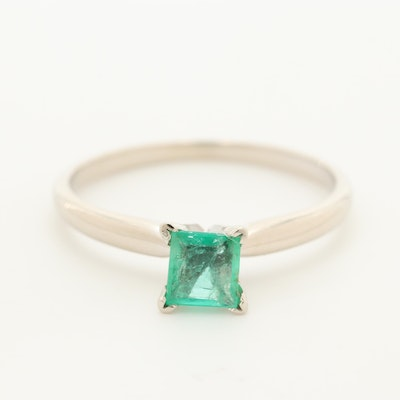 14K White Gold Emerald Solitaire Ring