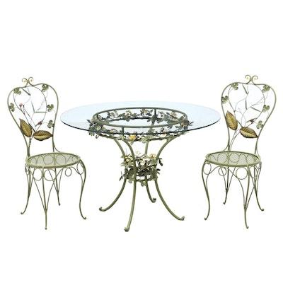 Floral and Insect Polychromed Metal Patio Set, Mid-20th Century