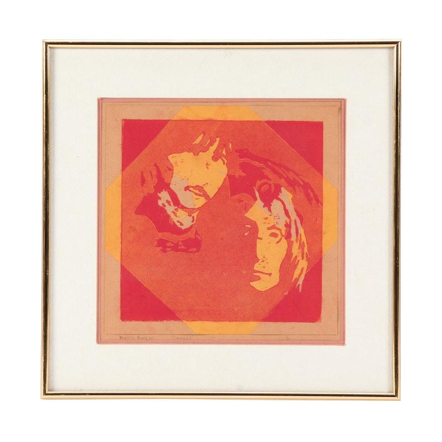 "David Kavlor Relief Print of John Lennon and Ringo Starr ""Images"""