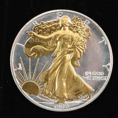 Gold Highlighted 1989 American Silver Eagle $1 Coin