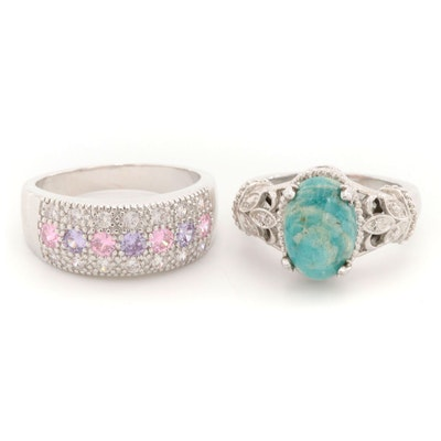 Sterling Silver Cubic Zirconia Ring With Amazonite Ring