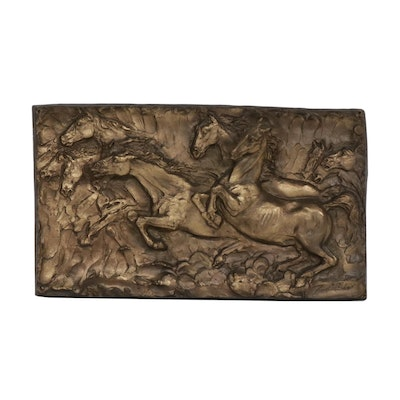 Cast Bronze Horses Relief Sculpture