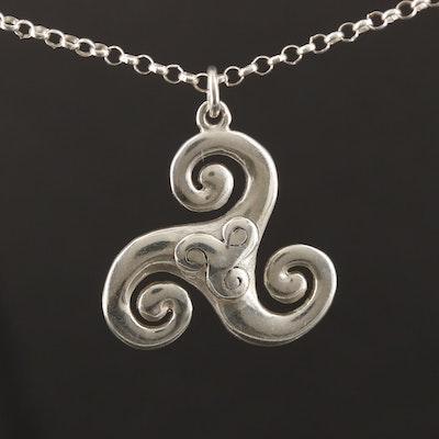 Sterling Silver Triskelion Pendant Necklace