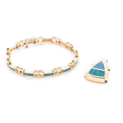 14K Yellow Gold Opal Doublet Inlay Bracelet and Slide Pendant Set