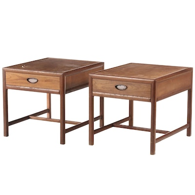 Michael Taylor for Baker, Pair of Modernist Cherry and Walnut Side Tables