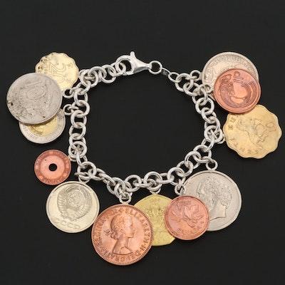 Sterling Silver Coin Bracelet Featuring Hong Kong Twenty Cent Coin