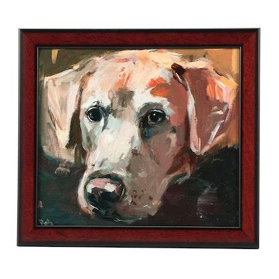 "Adam Deda Oil Painting of Labrador ""White Friend"""