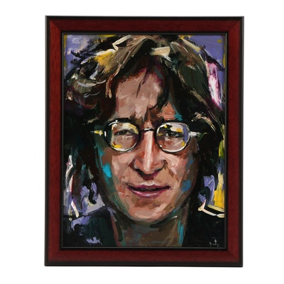 "Adam Deda Oil Portrait Oil Painting of John Lennon ""Imagine"""