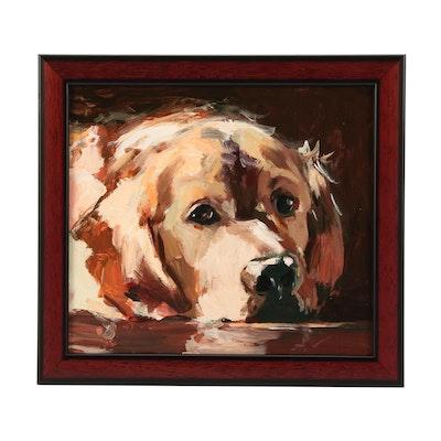 "Adam Deda Oil Painting of Golden Retriever ""Sunday Nap"""