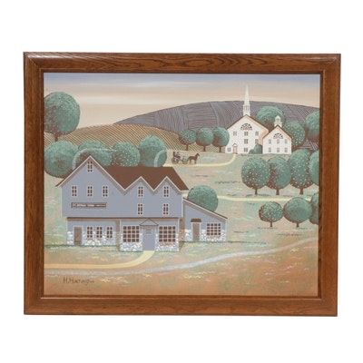 H. Huntington Original Landscape Folk Art Acrylic Painting