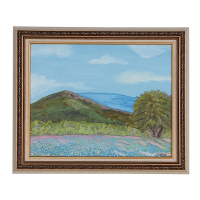 "David Ayers Oil Painting ""Bluebonnets Forever"""