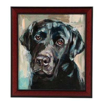 "Adam Deda Oil Painting of Labrador ""Black Friend"""