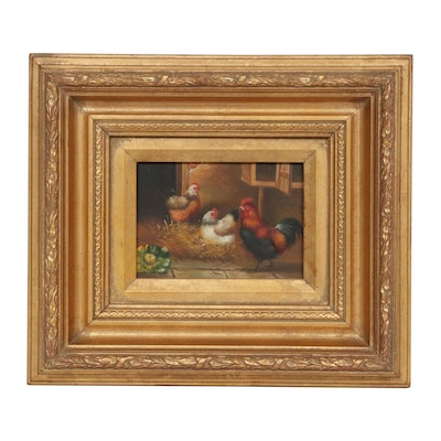 Barnyard Genre Oil Painting