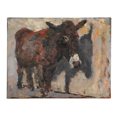 Elle Raines Acrylic Painting of a Donkey