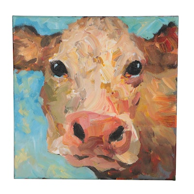 Elle Raines Cow Acrylic Painting