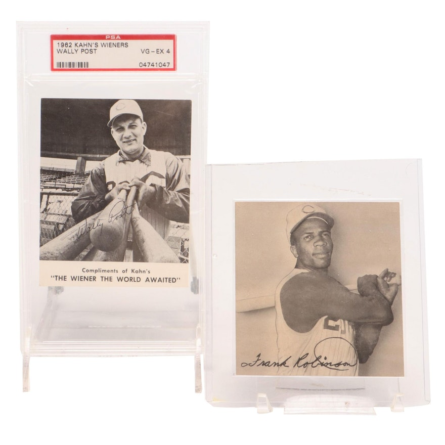 1959 Frank Robinson and 1962 Wally Post Kahn's Wieners Baseball Cards