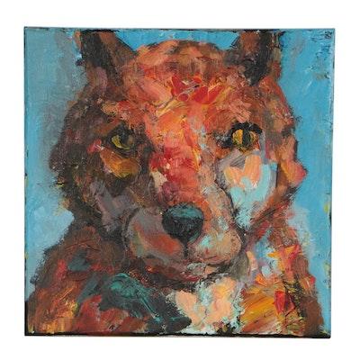 Elle Raines Fox Acrylic Painting