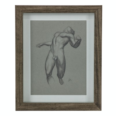 Andrew Moreno Mixed Media Drawing of Male Figure