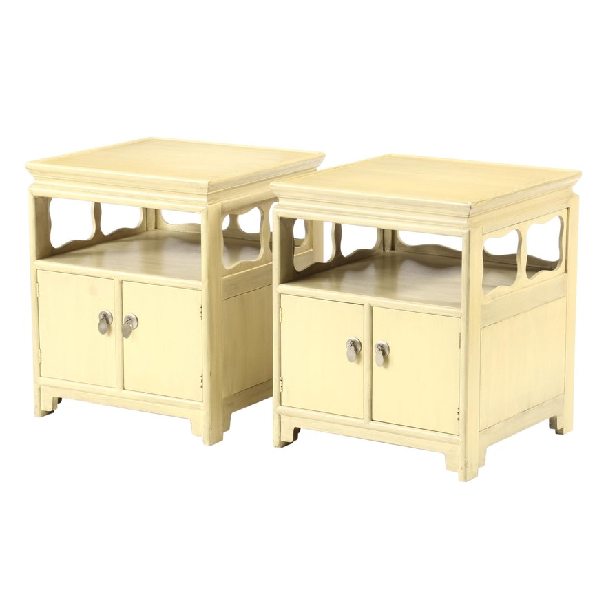 Michael Taylor for Baker, Pair of Yellow-Painted Chinoiserie Nightstands