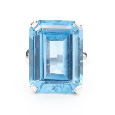 14K White Gold Blue 23.56 CT Topaz Ring