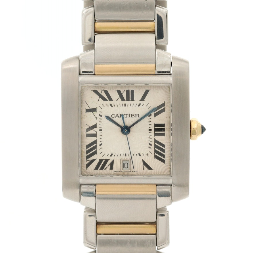 Cartier Tank Française 18K Gold and Stainless Steel Wristwatch