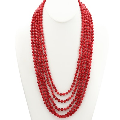 Sterling Silver Multi Strand Coral Necklace With Carved Mother of Pearl Clasp