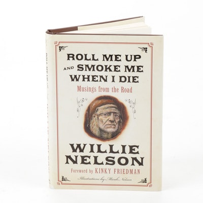 Willie Nelson Memoir with Original Drawing and Autograph