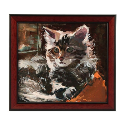 "Adam Deda Oil Painting of Cat ""Relaxing Afternoon"""