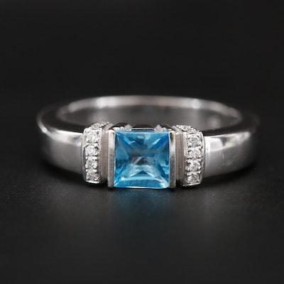 Di Modolo 18K White Gold Blue Topaz and Diamond Ring