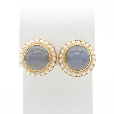 Vintage 18K Yellow Gold, Blue Chalcedony and Seed Pearl Earrings