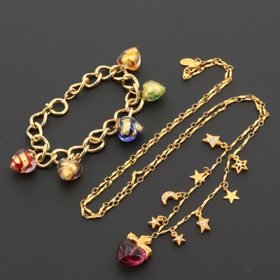 Rhinestone and Art Glass Heart Necklaces