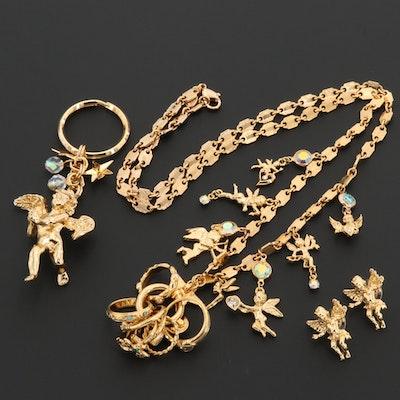 Rhinestone and Enamel Angel Themed Jewelry