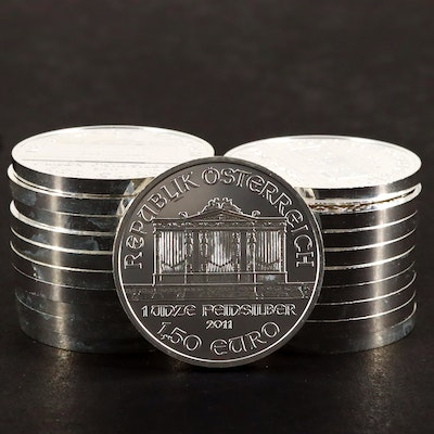 Roll of Twenty 1 1/2 Euro 2011 Wiener Philharmoniker Silver Bullion Coins