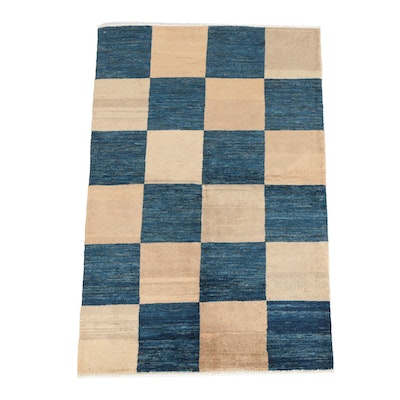 Hand-Knotted Afghan Checkerboard Gabbeh Wool Area Rug