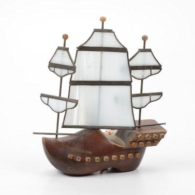 The Flying Dutchman Oak Clog Lamp, Mid-Century