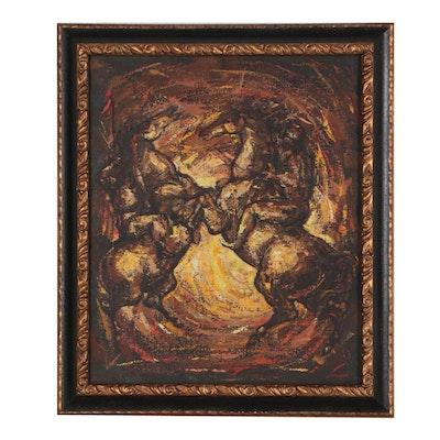 Charles E. Burdick Oil Painting of Fighting Horses