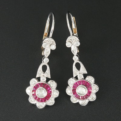 14K White Gold Diamond and Ruby Dangle Earrings