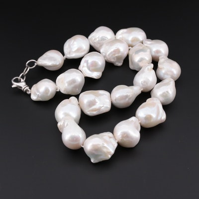 Cultured Pearl Necklace with Sterling Silver Clasp