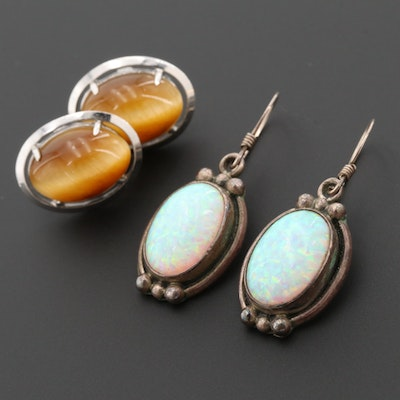 Sterling Silver Tiger's Eye Quartz and Opal Earrings