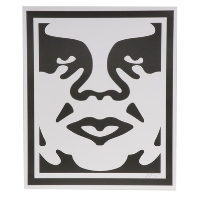 """Shepard Fairey Offset Print """"OBEY 3-Face (White)"""""""