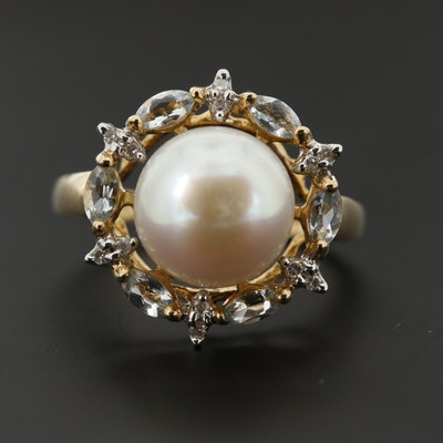 14K Yellow Gold Cultured Pearl, Aquamarine, and Diamond Ring