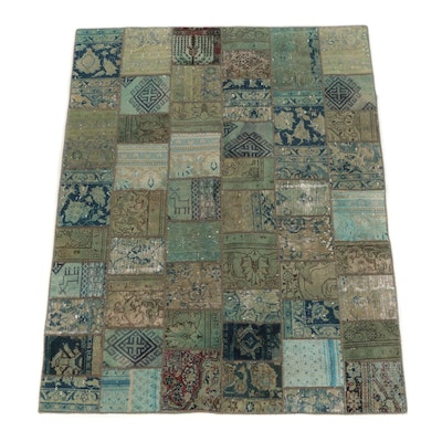 Overdyed Patchwork Hand-Knotted Turkish Wool Area Rug