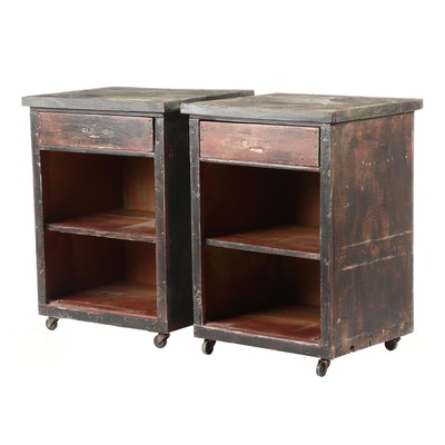 Two Industrial Style Painted One-Drawer Rolling Side Cabinets, 20th Century